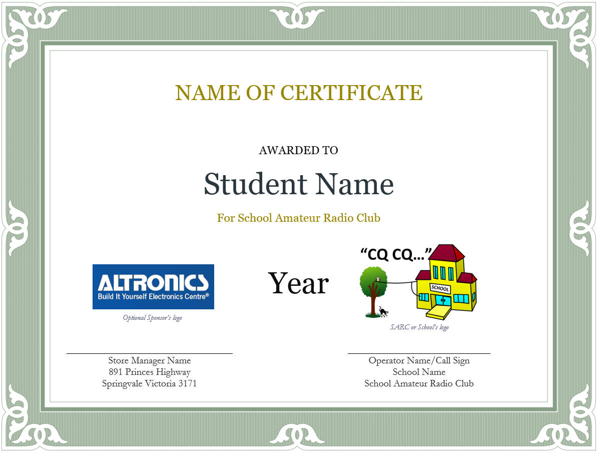 Awards sarc award certificate template yadclub Choice Image