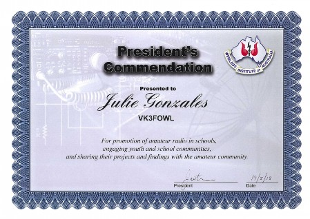 Award for SARCNET promotion of Amater Radio